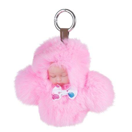 Sleutelhanger / Tashanger Fluffy Baby 16cm Groot - Roze