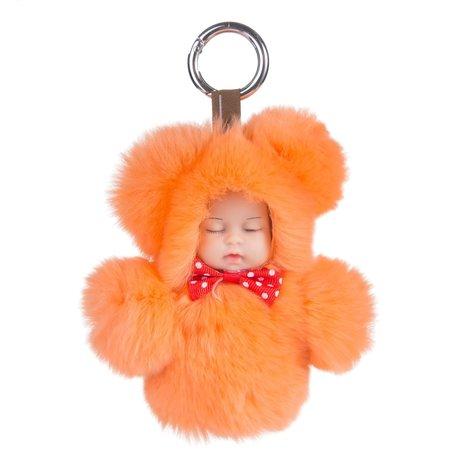 Sleutelhanger / Tashanger Fluffy Baby 16cm Groot - Oranje