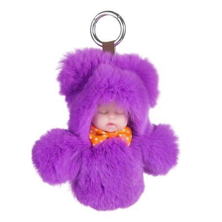 Sleutelhanger / Tashanger Fluffy Baby 16cm Groot - Paars