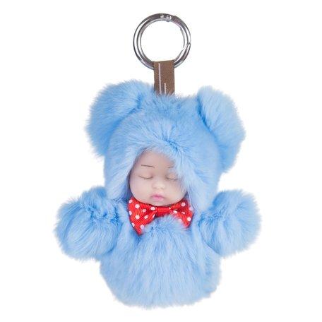 Sleutelhanger / Tashanger Fluffy Baby 16cm Groot - Blauw
