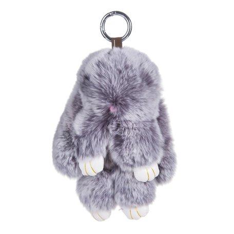 Sleutelhanger / Tashanger Fluffy Konijn Groot 23cm - Grijs