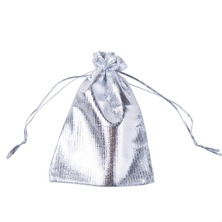 Organza Zakjes Metallic Silver 10x15 cm Pak van 50 Stuks