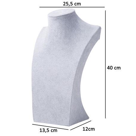 Display Hals Grijs Fluweel 40 cm hoog