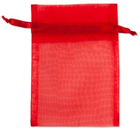 Organza zakjes Rood 10x16 cm Pak van 50 Stuks