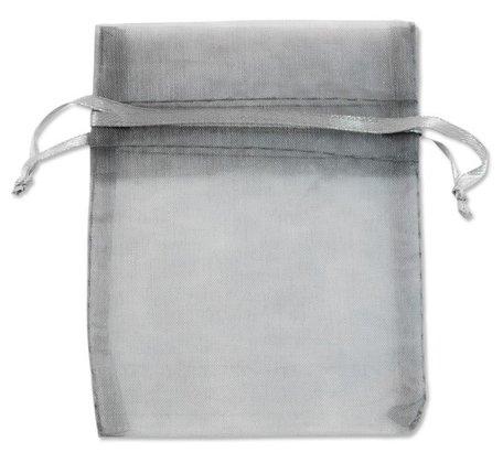 Organza zakjes Grijs (Silver) Kleur 9x12 cm Pak van 50 Stuks