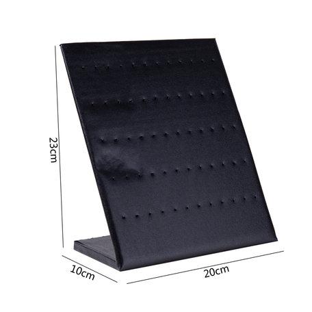 Zwart Oorbellen Display LEDERLOOK Voor 30 Paar