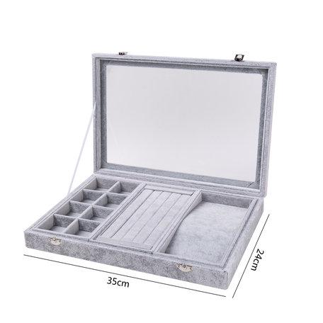 Luxe Display Koffer voor Ringen/armbanden/kettingen & Accessoires Fluweel Grijs