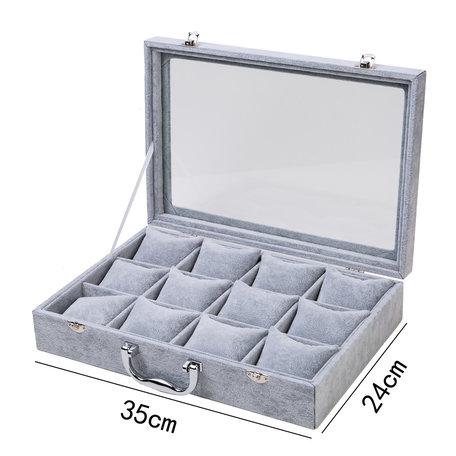 DISPLAY Koffer 12 VAK KUSSEN FLUWEEL Grijs
