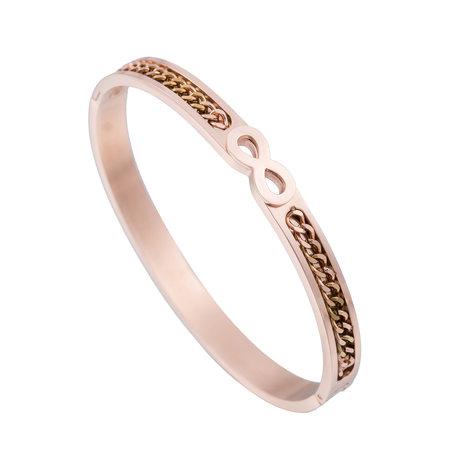 ARMBAND STAINLESS STEEL Kleur Rosé Goud - Infinity Symbool