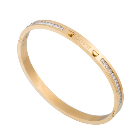 ARMBAND STAINLESS STEEL Kleur Goud - Quote Bangle