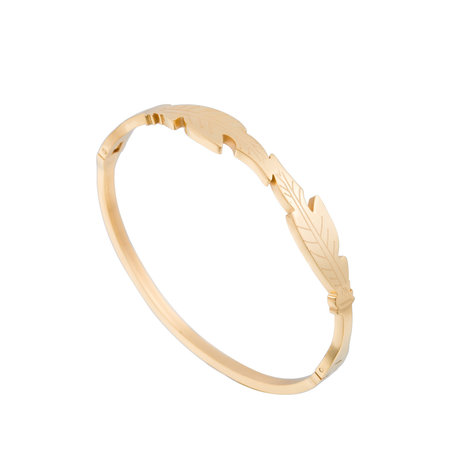 ARMBAND STAINLESS STEEL Kleur Goud - LEAF Bangle