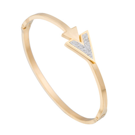 ARMBAND STAINLESS STEEL Kleur Goud - 'V' Bangle