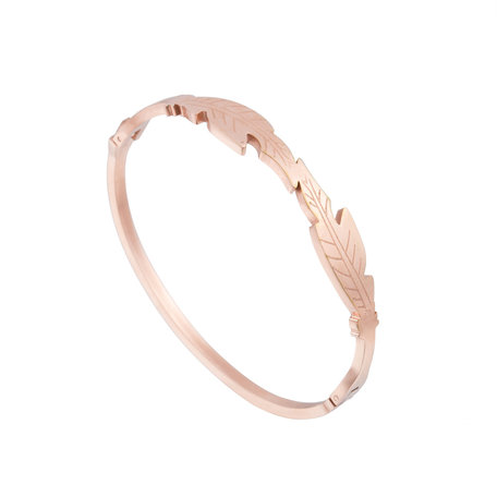 ARMBAND STAINLESS STEEL Kleur Rosé Goud - LEAF Bangle