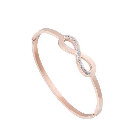 ARMBAND STAINLESS STEEL Kleur Rosé Goud - Infinity Zirkonia