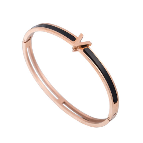 ARMBAND STAINLESS STEEL Kleur Rosé Goud - 'V' Bangle