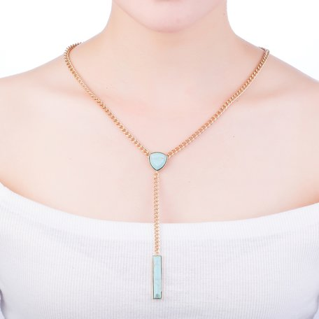 Statement Ketting - Marmer Look Pendants - Blauw