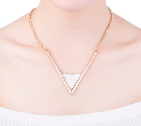 Statement Ketting - Driehoek marmer look Pendant