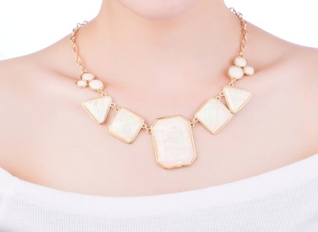 statement ketting - Marmer Look Necklace - Beige