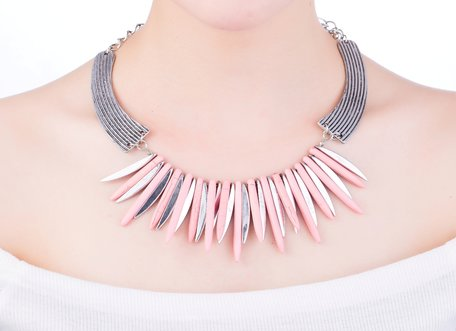 statement ketting - Marmer Look Pendants - Roze