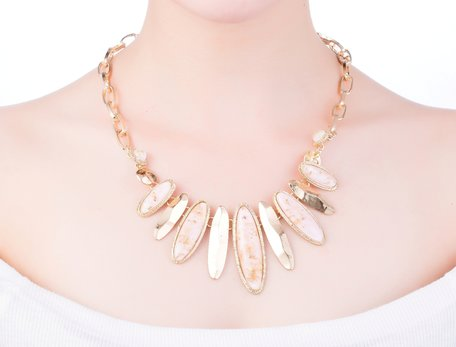 statement ketting - Marmer Look Pendant - Beige