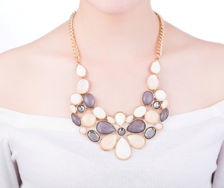 statement ketting - Marmer Look Pendants Necklace - Multi Color