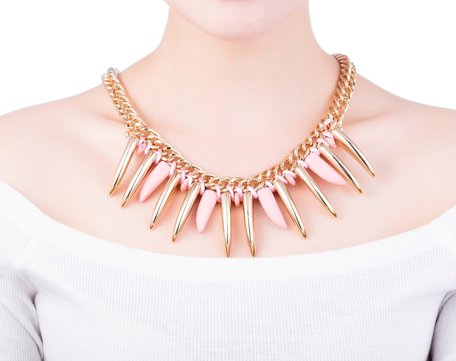 statement ketting - Gold & Pink Pendant Necklace