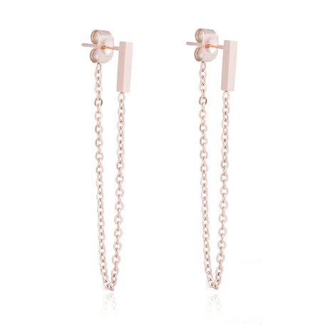 ROEST VRIJ STAAL CHAIN EARRING SQUARE BAR