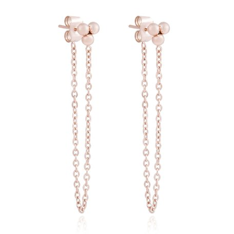 ROESTVRIJ STAAL CHAIN EARRING DOTS