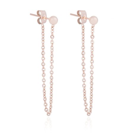 ROESTVRIJ STAAL CHAIN EARRING DOT