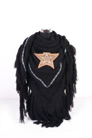 Zwart poncho/omslagdoek met ster 200x75 cm