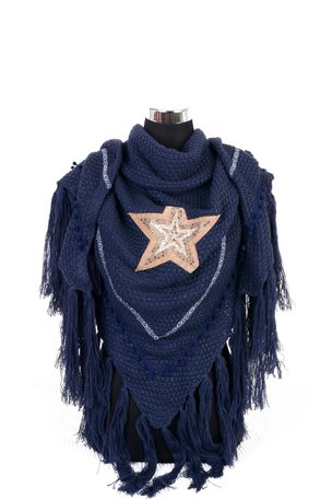 Donker Blauw poncho/omslagdoek met ster 200x75 cm