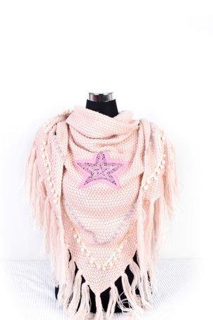 Roze poncho/omslagdoek met ster 200x90 cm