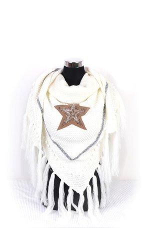 Wit poncho/omslagdoek met ster 200x90 cm