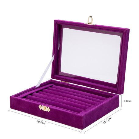 Ringen Display koffer Fluweel Paars Kleur