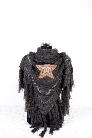 Donker Grijs poncho/omslagdoek met ster 200x75 cm
