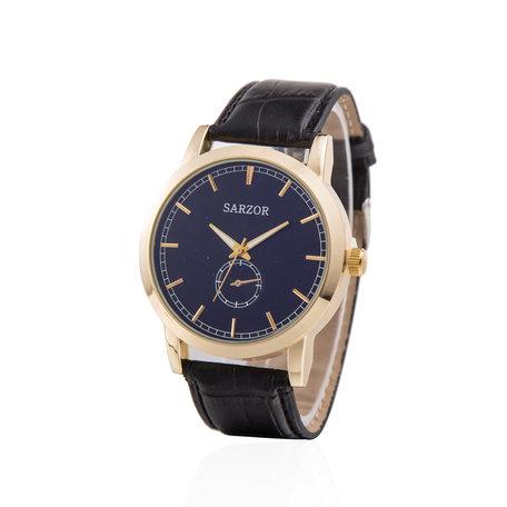 Exclusieve Horloge - Goud & Blauw met Croco Leder Band - Sarzor