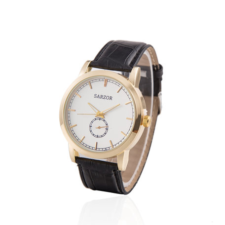 Exclusieve Horloge - Goud & Wit met Croco Leder Band - Sarzor