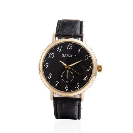 Exclusieve Horloge - Goud & Zwart met Leder Croco Band - Sarzor