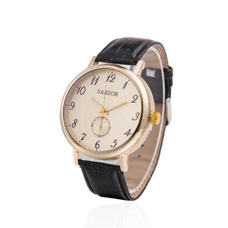 Exclusieve Horloge - Goud met Leder Croco Band - Sarzor