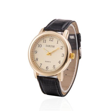 Exclusieve Horloge - Goud met Croco Horloge Band - Sarzor