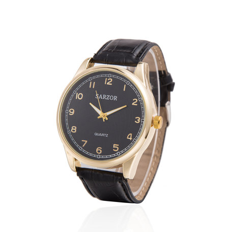 Exclusieve Horloge - Goud & Zwart met Leder Croco Band