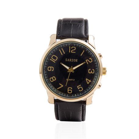 Exclusieve Horloge - Goud & Zwart met Lederen Croco Band