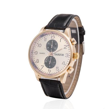 Exclusieve Horloge - Goud & Wit met Lederen Croco Band