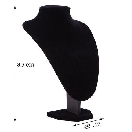 Display Hals Fluweel zwart 30 cm hoog