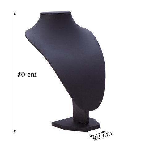 Display Hals Lederlook Zwart 30 cm hoog