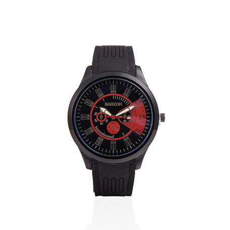 Navy Horloge - Zwarte & Rode Kast - Rubberen Band