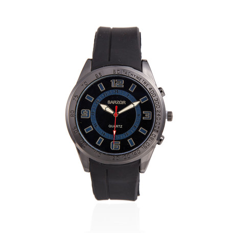 Navy Horloge - Zwarte Kast - Rubberen Band