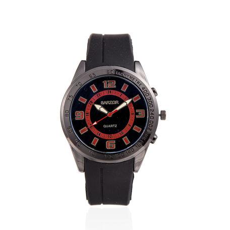Navy Horloge - Zwarte & Rode Kast - Rubberen Band