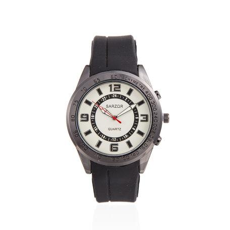 Navy Horloge - Zwart met Wit Kast - Rubberen Band