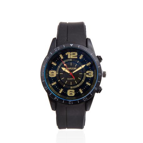 Navy Horloge - Zwarte met Gele cijfers Kast - Rubberen Band
